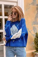 Вязаный свитер женский из кашемира синий