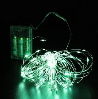 Xmas гирлянд 100 Led (Copper) на медной проволоке (Капля росы) G Зеленая работает от батареек