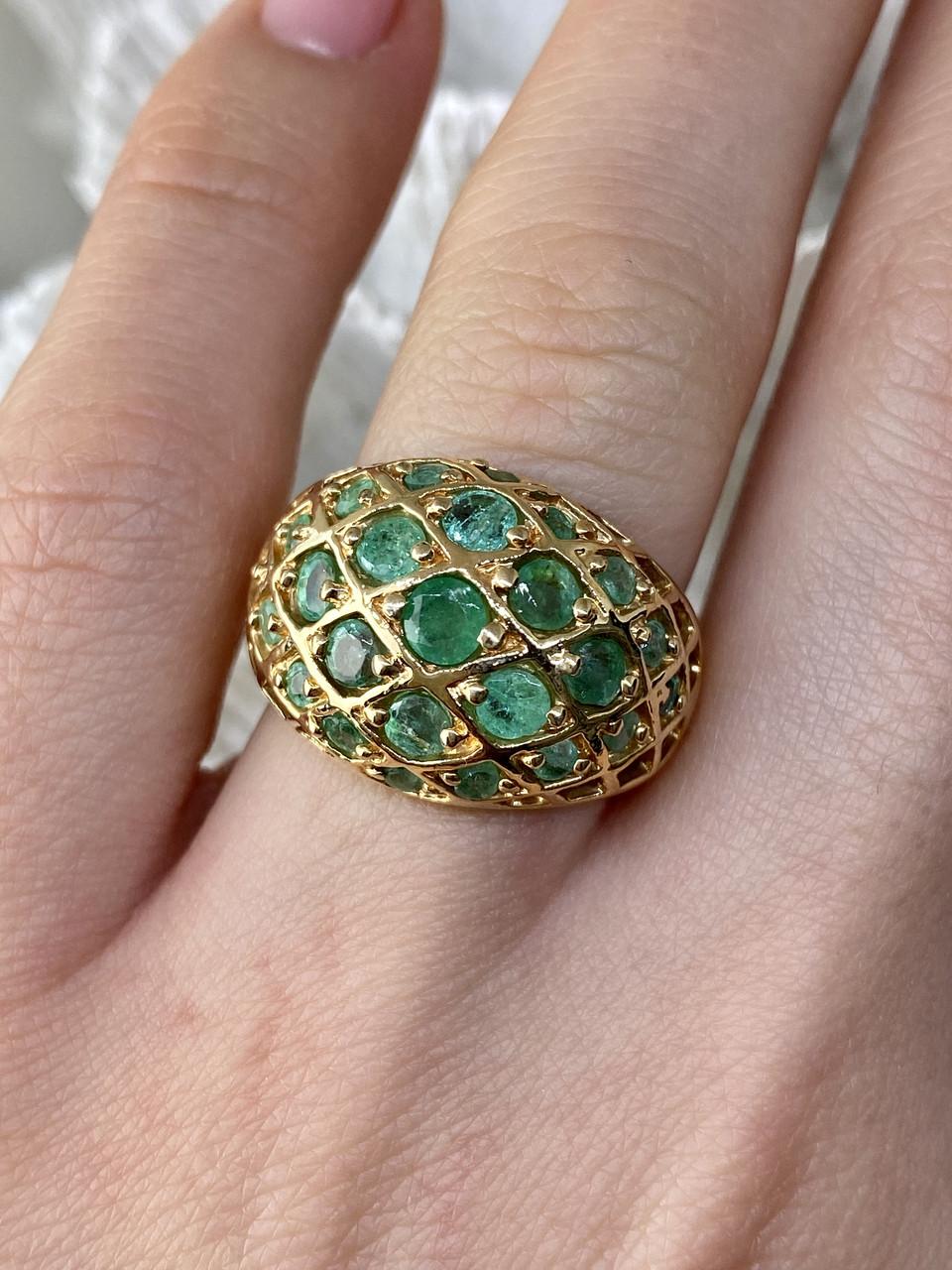 Серебряное кольцо в позолоте с изумрудом  Королева
