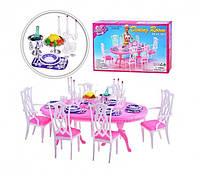 Мебель для кукол Gloria Глория 9712 Гостиная Барби, стол, стулья, свечи, посуда