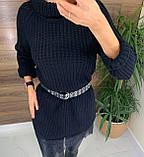 Женское  платье-туника под горло с кружевом внизу, фото 4