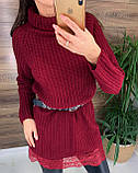 Женское  платье-туника под горло с кружевом внизу, фото 5