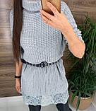 Женское  платье-туника под горло с кружевом внизу, фото 6