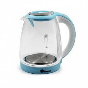 Дисковий електричний чайник Domotec MS-8111 З підсвічуванням Синій