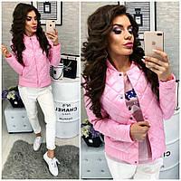 Женская демисезонная куртка стильная Осень-весна 310 розовая