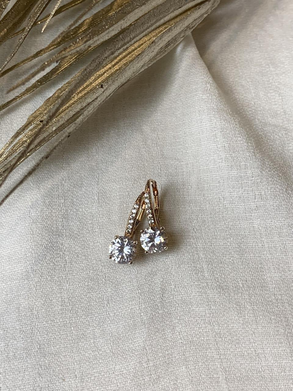 Серебряные Серьги в позолоте с фианитами   Сияй