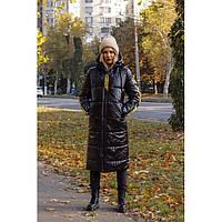 Пальто женское лаковое стильное черное 33313