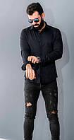 Мужская черная рубашка с длинным рукавом на пуговицах