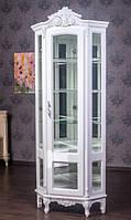 Белая угловая витрина Версаль Барокко стиль из дерева, фото 1