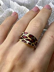 Кольцо из серебра в позолоте с эмалью Леопардовый принт