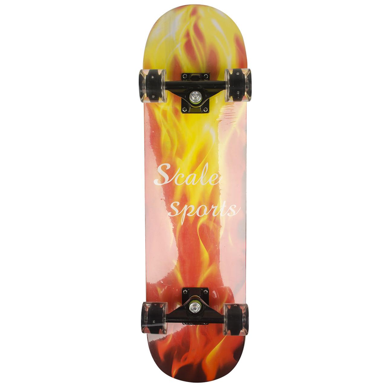 Огненный круизер скейт деревянный со светящимися колесами с рисунком черный красный скейтборд
