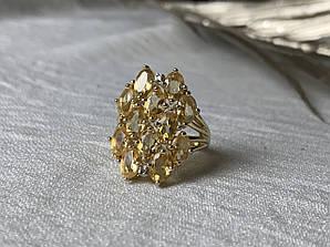 Серебряное кольцо в позолоте с желтым турмалином и бриллиантами