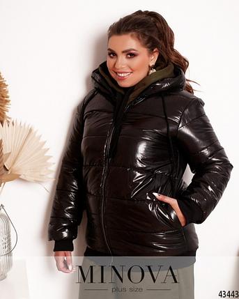 Комфортная куртка батал из простеганной ткани Украина Размеры: 48-50, 52-54, 56-58, фото 2