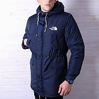 Парка The North Face мужская куртка TNF зимняя синяя теплый пуховик ТНФ на зиму мужской размер L цвет синий