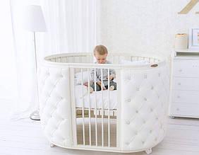 Дитяче овальне ліжечко трансформер 8в1 Elegance Swarovski каретна стяжка