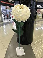 Пион светильник белый на стойке Большие ростовые цветы из изолона, фото 1