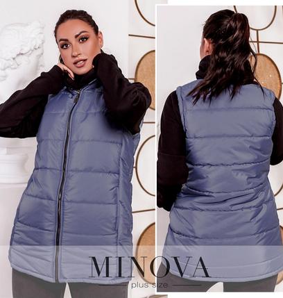 Тёплый и стильный жилет большого размера, с подкладкой Минова Украина Размеры: 50-52, 54-56, 58-60, 62-64, фото 2