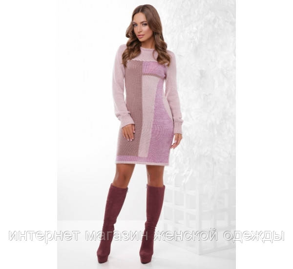 Платье 157 пудра-фрез-сирень