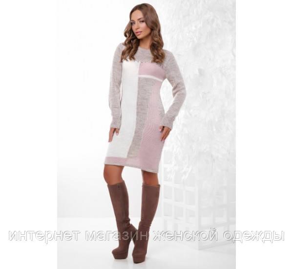 Платье 157 капучино-молоко-пудра