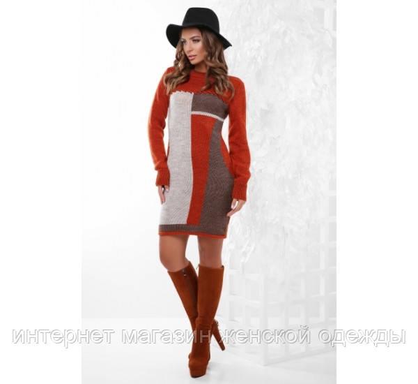 Платье 157 терракот-капучино-коричневый