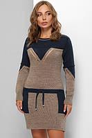 Теплое платье женское шерстяное Вязаное платье туника