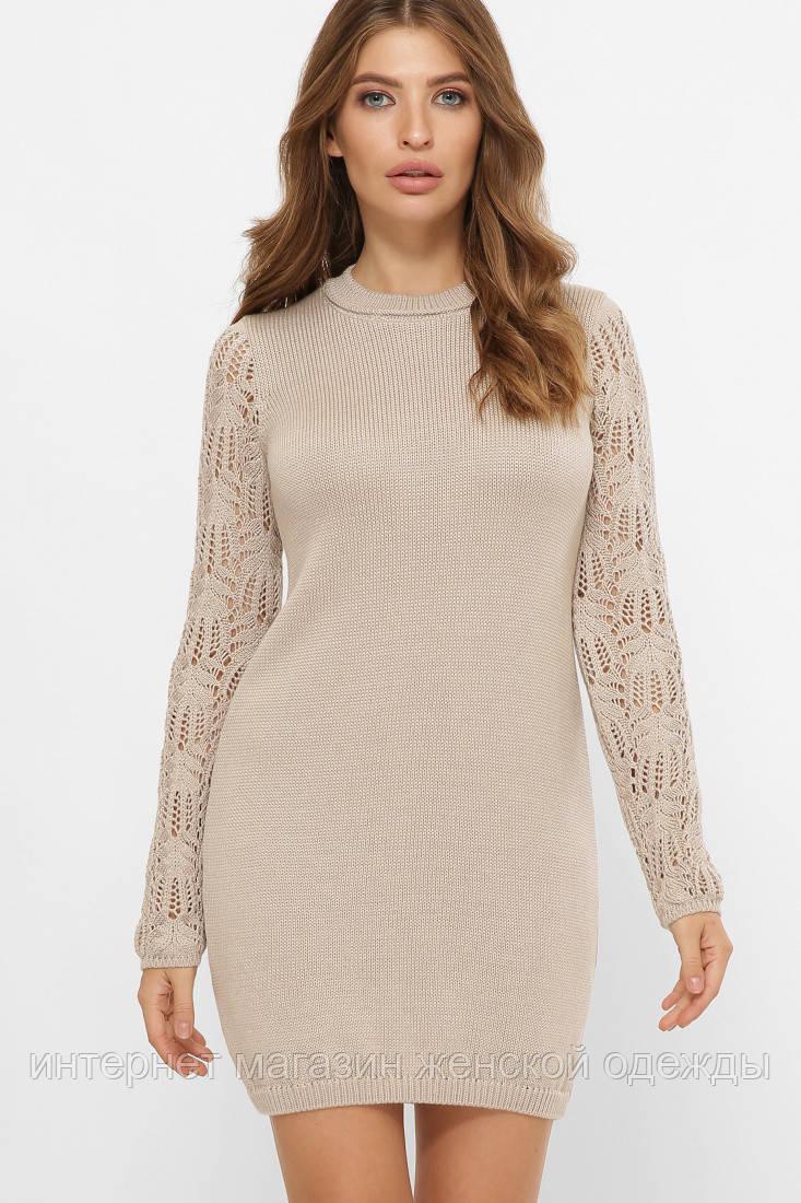 Платье свитер вязаное с красивым рукавом капучино