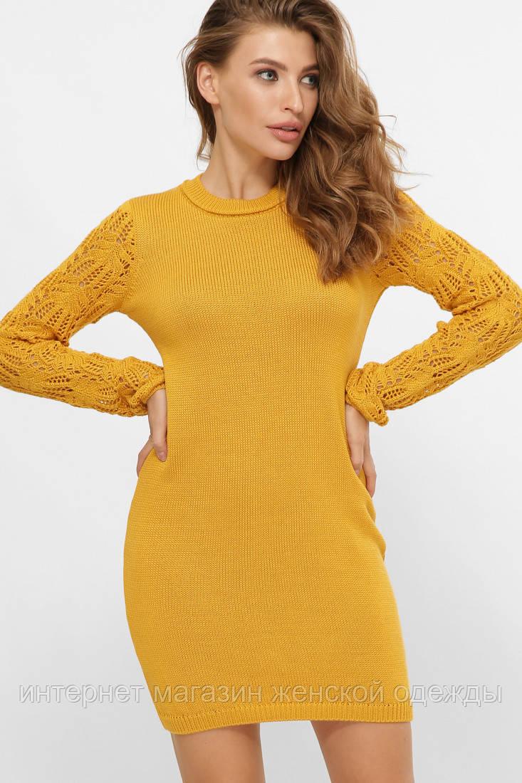Платье свитер вязаное с красивым рукавом горчичное