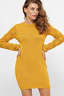 Платье свитер вязаное с красивым рукавом горчичное, фото 1
