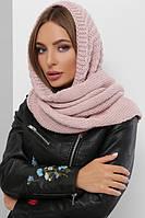 Женский шарф косынка Шарф-бактус вязаный пудровый