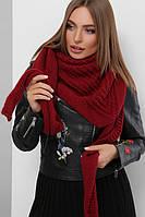 Женский шарф косынка Шарф-бактус вязаный бордовый