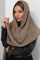 Женский шарф косынка Шарф-бактус вязаный кофейный