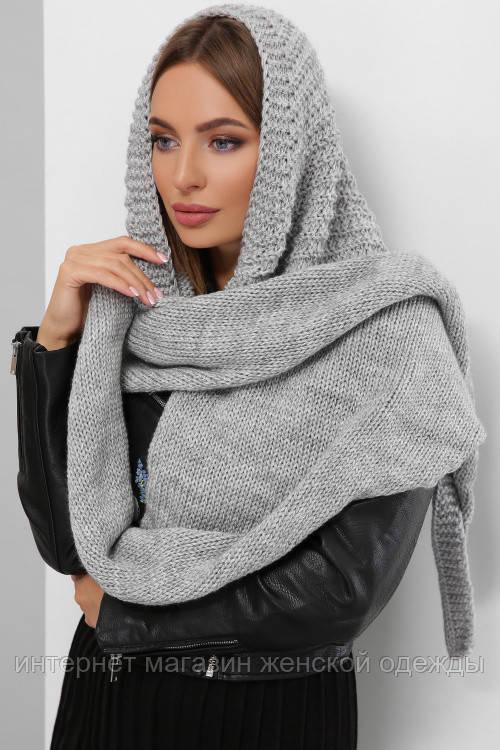 Женский шарф косынка Шарф-бактус вязаный серый