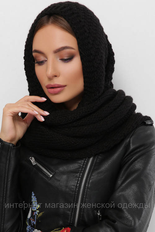 Женский шарф косынка Шарф-бактус вязаный черный
