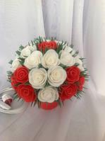 Светильник ночник Букет белых и красных роз Оригинальный подарок ручной работы