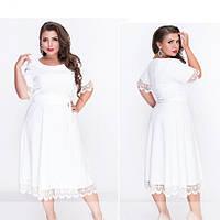 Нарядное молочное платье большого размера №18-31-молочный Размеры 48,50