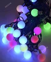 Лампочки 20мм 30 LED, 7м + переходник, мульти