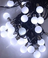 Лампочки 20мм, 30 LED 7м + переходник, белый
