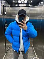 Зимняя мужская куртка пуховик синий, фото 1