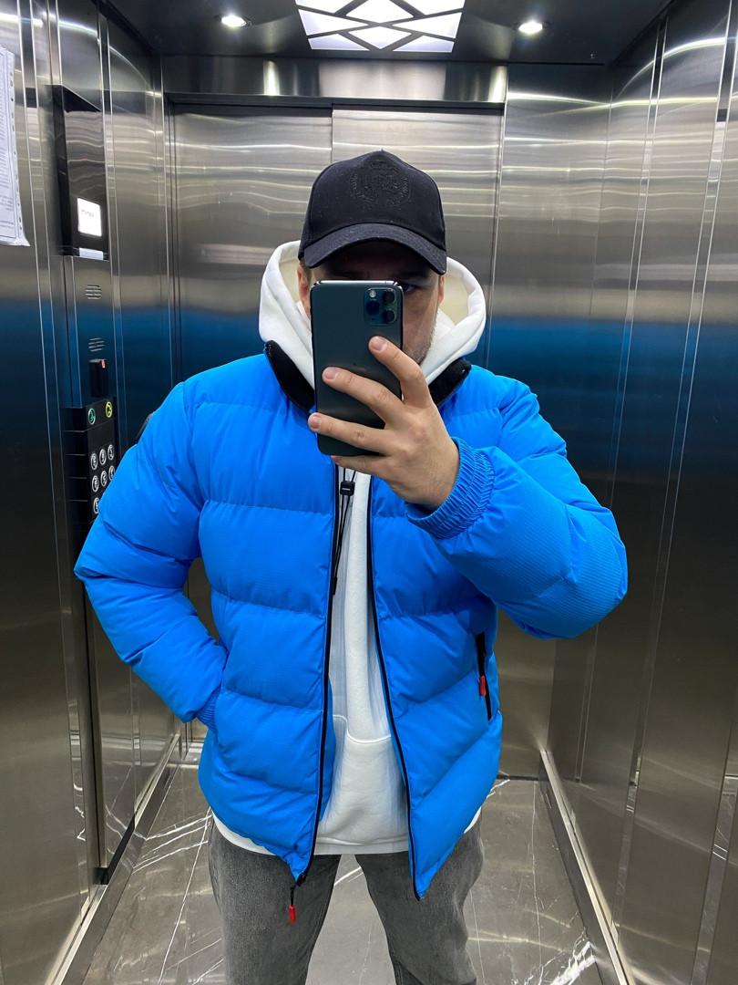 Зимняя мужская куртка пуховик синий