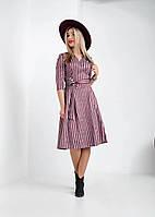 Теплое платье на запах бордовое, фото 1