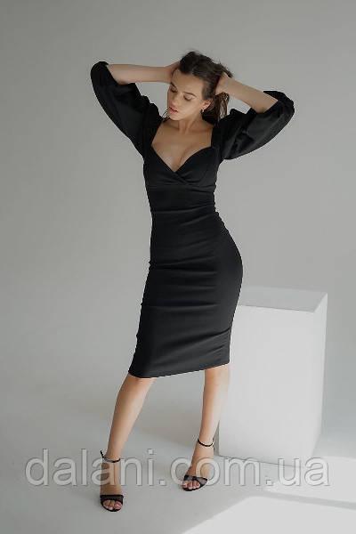 Жіноче шикарне чорне плаття-футляр з відкритими плечима