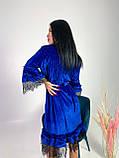 Женское бархатное платье свободного кроя с поясом, фото 2