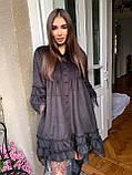 Женское бархатное платье свободного кроя с поясом, фото 3
