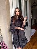 Женское бархатное платье свободного кроя с поясом, фото 4