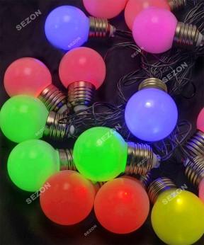 Лампочки 50мм матовые, 20 LED черн / провод 7м, мульти RB / RG