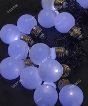 Лампочки 50мм матовые, 20 LED черн / провод 7м, белый