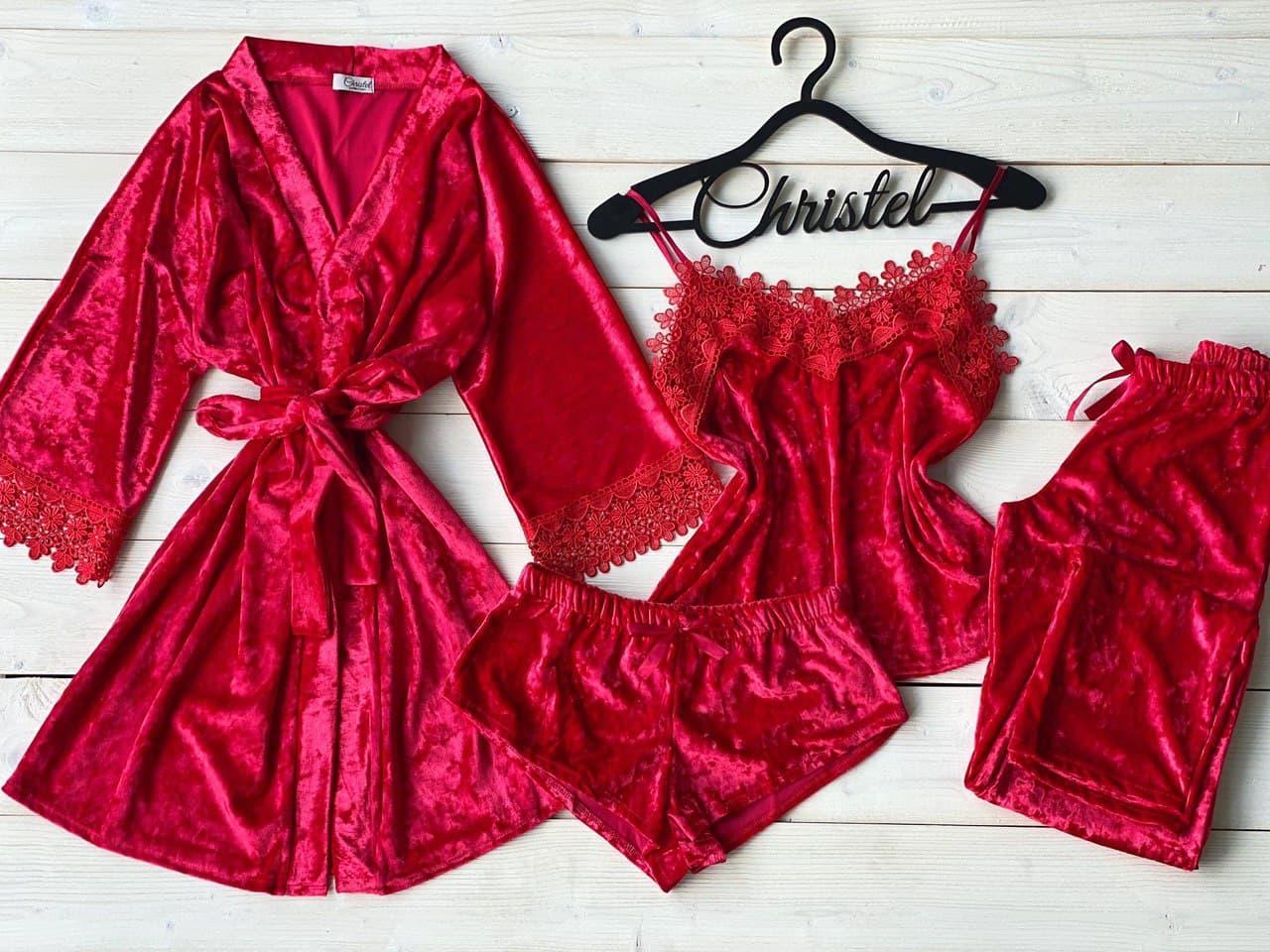 Женская пижама четверка из мраморного велюра