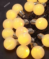Лампочки 50мм матовые, 20 LED черн / провод 7м, белый теплый