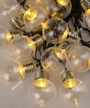Лампочки 50мм прозрачные, 20 LED, 7м, белый теплый