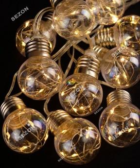 Лампочки-РОСА 50мм, 10шт, 100 LED, 3м, теплый белый